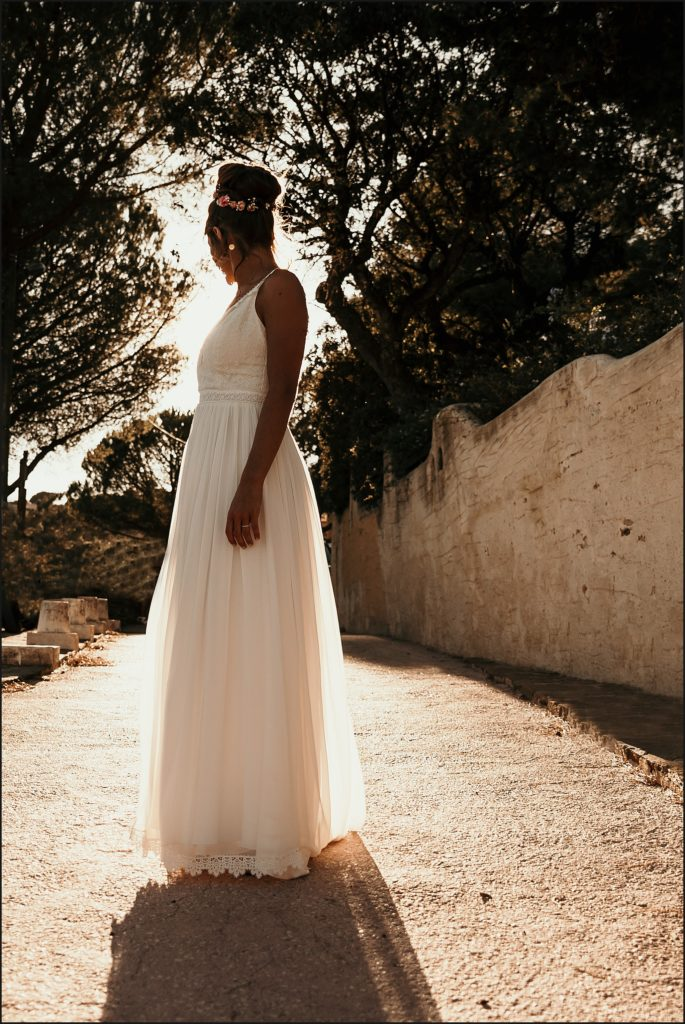 Photographe Mariage Var robe christina sfez coucher de soleil