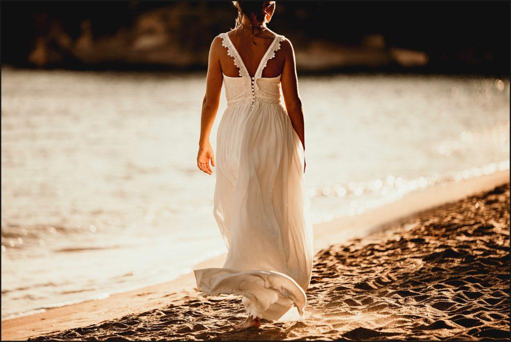 Photographe Mariage Var robe christina sfez plage rayol