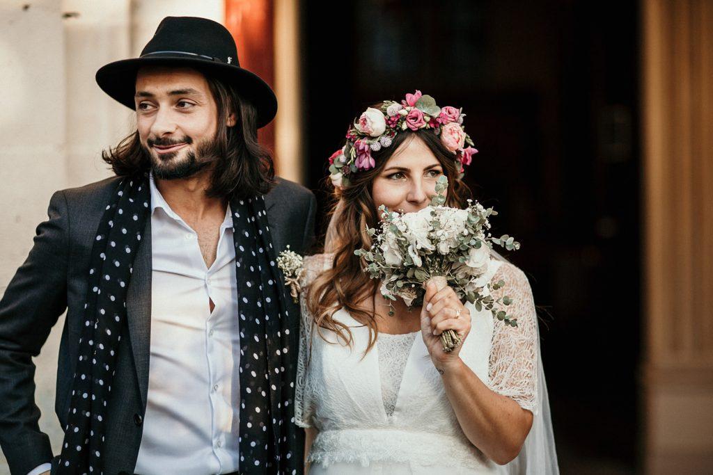Mariage Ferme Armenon mariés a la sortie eglise
