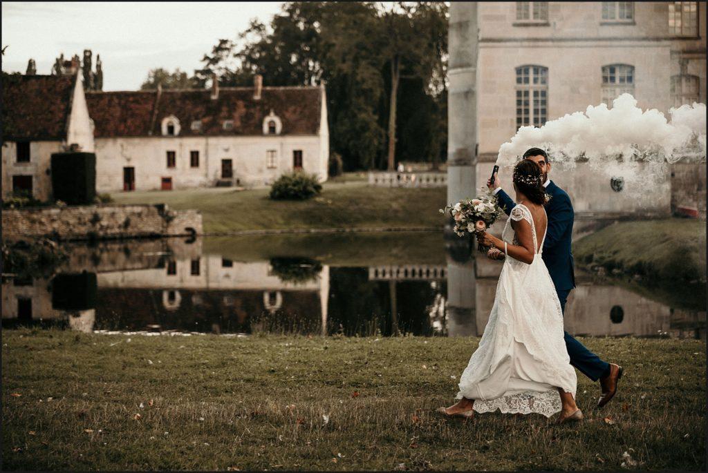 Mariage à Verderonne vues du domaine pendant séance photo mariage