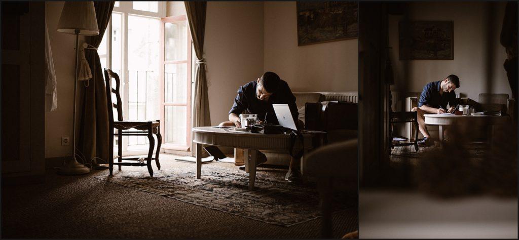 Mariage à Verderonne préparatifs du marié dans une chambre du domaine