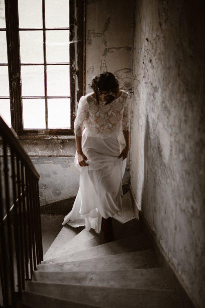 Mariage Moody photographe moody chateau chambly escaliers