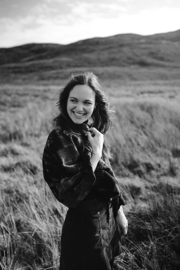 Couple Session on Isle of Skye future bride black and white