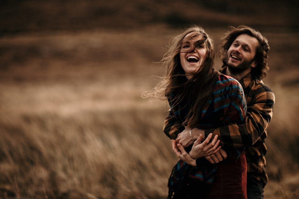 Couple Session on Isle of Skye lovers with fun and love in scotland
