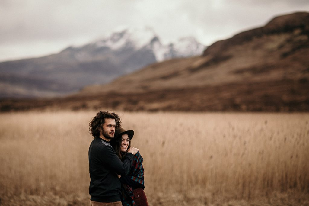 Couple Session on Isle of Skye lovers with mountain landscape