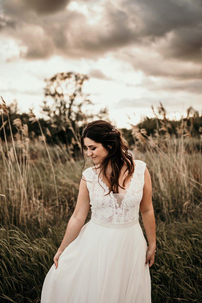 Photographe Mariage Yvelines portrait mariée avec beau ciel