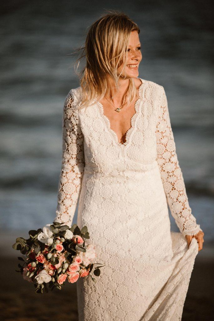 Un mariage à la plage robe de mariée