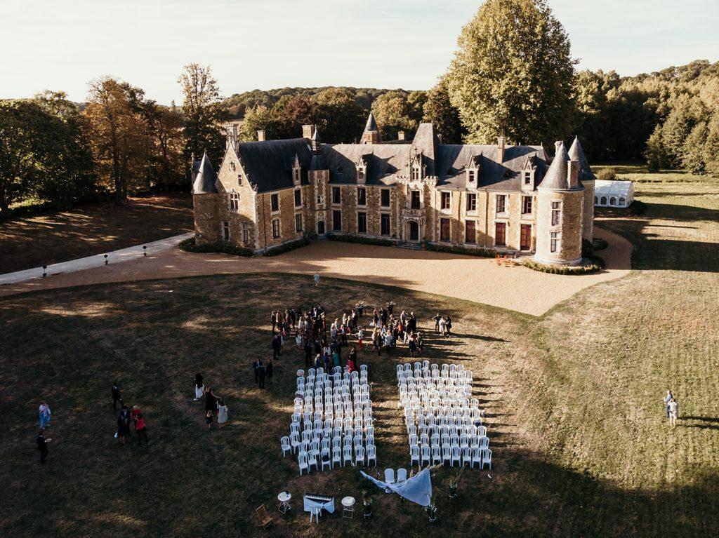 Lieux de mariage autour de Paris château cheronne drone