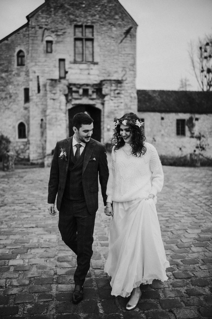 Se marier en hiver photo mariage noir et blanc