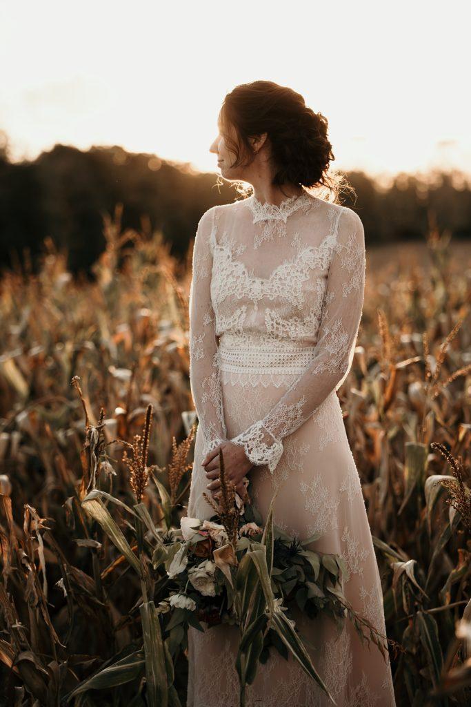 Mariage à la Bergerie de Vaujoly robe de mariage chic